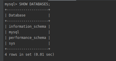 Пример результата команды SHOW DATABASES;